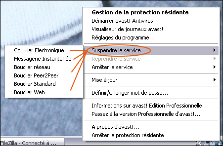 Desactiver la protection residente d'avast