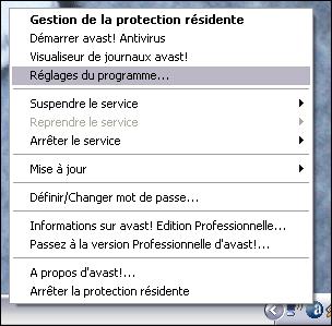 Accès aux paramètres et à la configuration de l'antivirus avast